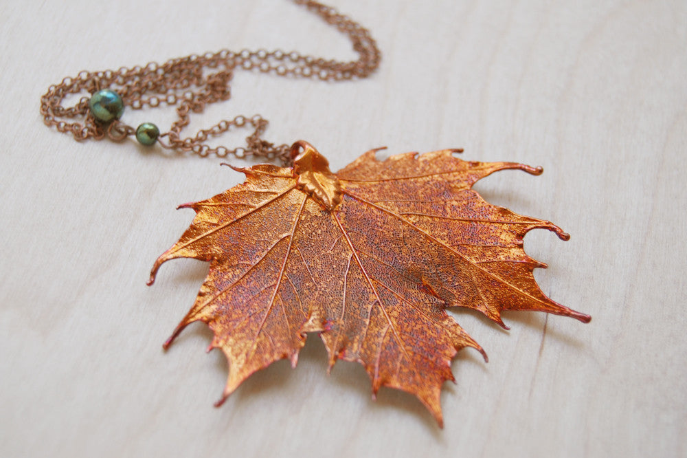 Large fallen copper maple leaf necklace real maple leaf pendant large fallen copper maple leaf necklace real maple leaf pendant copper electroformed pendant aloadofball Gallery