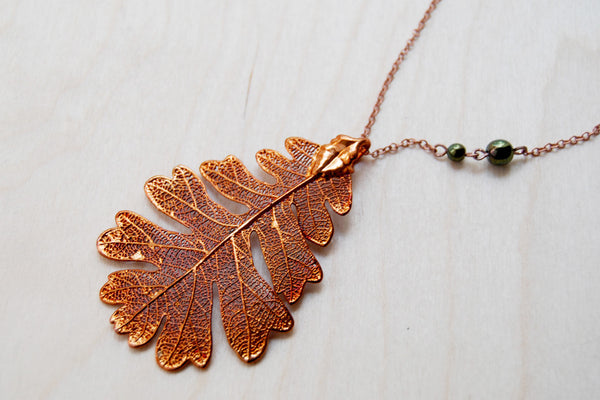 Large Fallen Copper Oak Leaf Necklace | REAL Oak Leaf Pendant | Copper Electroformed Pendant | Nature Jewelry - Enchanted Leaves - Nature Jewelry - Unique Handmade Gifts
