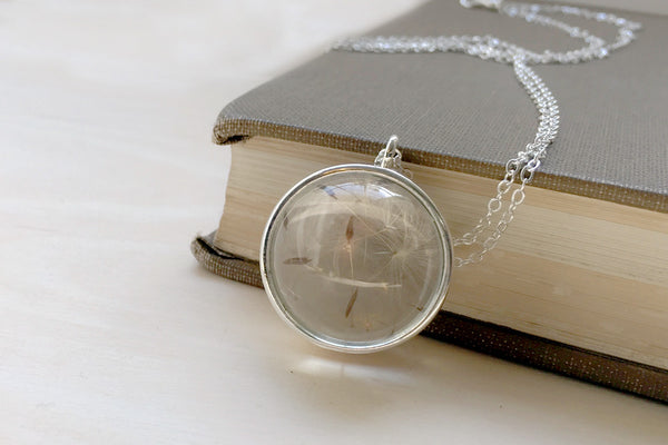 Large Glass Dandelion Wishes Necklace | Whimsical Dandelion Necklace | Glass Terrarium Pendant - Enchanted Leaves - Nature Jewelry - Unique Handmade Gifts