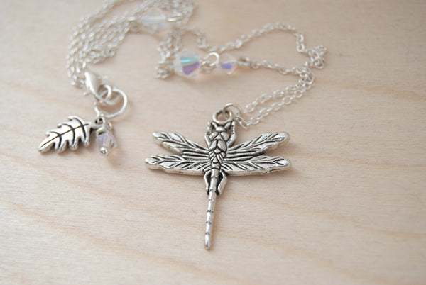 Large Silver Dragonfly Necklace | Dragonfly Charm Necklace | Cute Insect Jewelry - Enchanted Leaves - Nature Jewelry - Unique Handmade Gifts