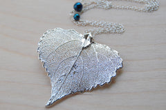 Large Fallen Silver Cottonwood Leaf Necklace