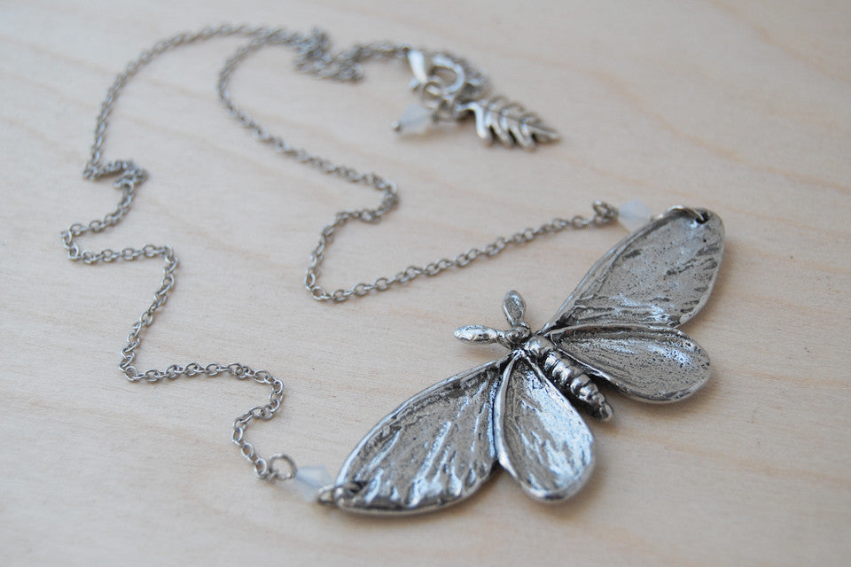 Majestic Silver Moth Necklace | Large Silver Moth Pendant | Insect Jewelry - Enchanted Leaves - Nature Jewelry - Unique Handmade Gifts