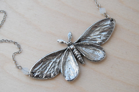 Majestic Silver Moth Necklace | Large Silver Moth Pendant | Insect Jewelry