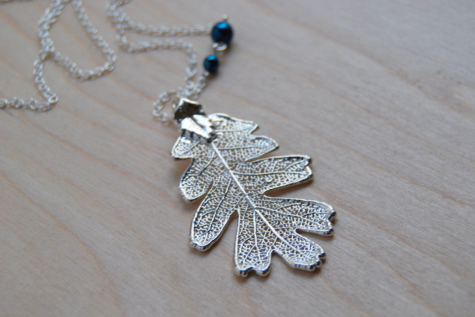 Real leaf necklace - Oak leaf in silver. 94sdwnU