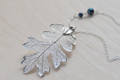 Large Fallen Silver Oak Leaf Necklace