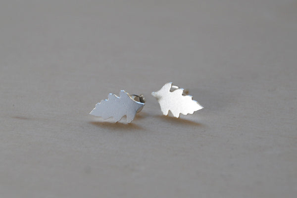 Silver Oak Leaf Stud Earrings | Woodland Leaf Jewelry | Fall Earrings - Enchanted Leaves - Nature Jewelry - Unique Handmade Gifts