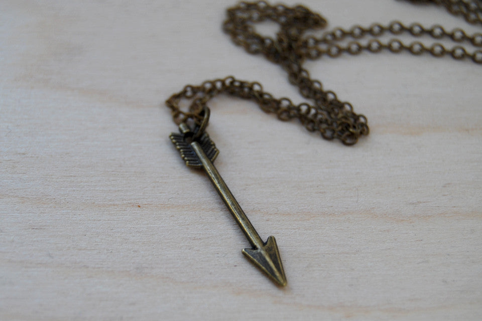 Little Brass Arrow Necklace | Arrow Charm Necklace | Cute Arrow Pendant - Enchanted Leaves - Nature Jewelry - Unique Handmade Gifts
