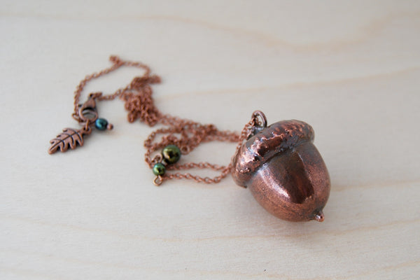 Large Fallen Copper Acorn Necklace | Cute Nature Acorn Charm Necklace | Forest Acorn Necklace | Woodland Acorn | Electroformed Acorn - Enchanted Leaves - Nature Jewelry - Unique Handmade Gifts