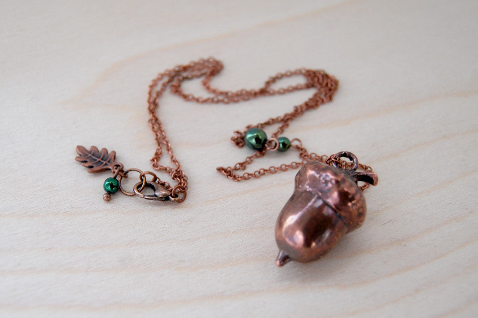 Medium Fallen Copper Acorn Necklace | REAL Oak Acorn Pendant | Copper Electroformed Pendant | Nature Jewelry - Enchanted Leaves - Nature Jewelry - Unique Handmade Gifts