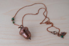Medium Fallen Copper Acorn Necklace | REAL Oak Acorn Pendant | Copper Electroformed Pendant | Nature Jewelry