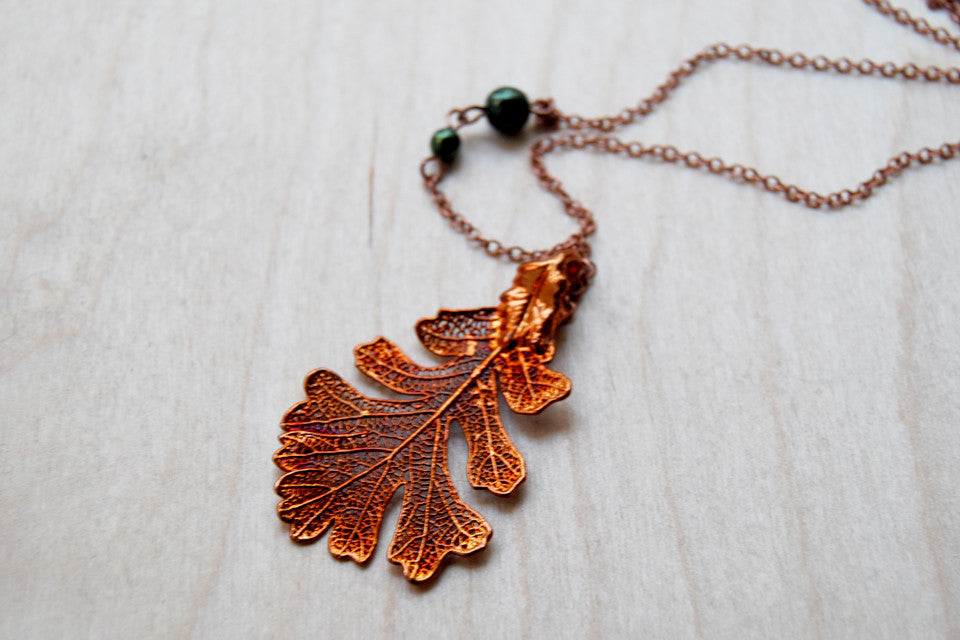 Medium Fallen Copper Oak Leaf Necklace  | REAL Oak Leaf Pendant | Copper Electroformed Pendant | Nature Jewelry - Enchanted Leaves - Nature Jewelry - Unique Handmade Gifts