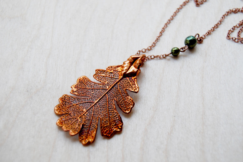 Medium Fallen Copper Oak Leaf Necklace | REAL Maple Leaf Pendant | Electroformed Nature Jewelry - Enchanted Leaves - Nature Jewelry - Unique Handmade Gifts
