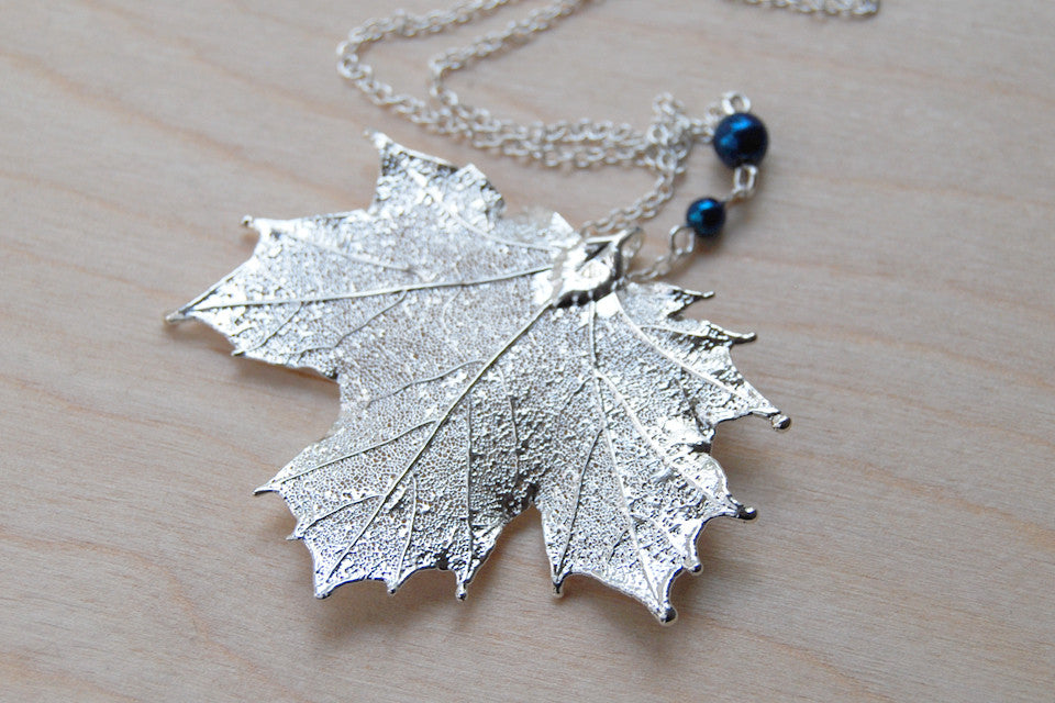 real maple custom electroformed necklace silver pendant large leaf products