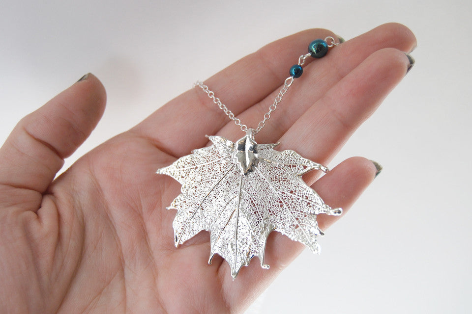 Medium Fallen Silver Maple Leaf Necklace  | REAL Maple Leaf Pendant | Silver Electroformed Pendant | Nature Jewelry - Enchanted Leaves - Nature Jewelry - Unique Handmade Gifts