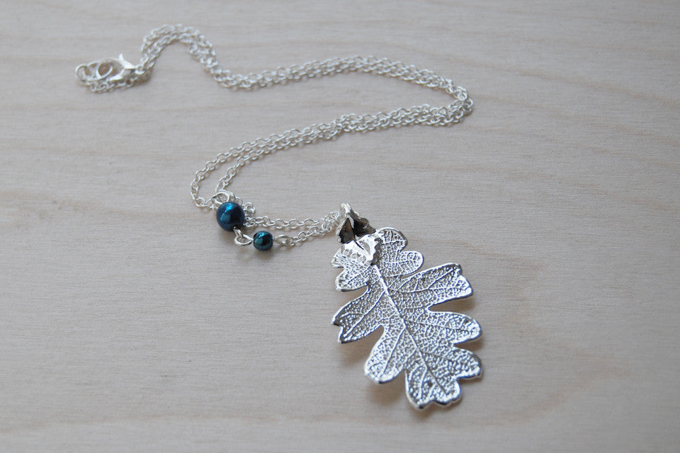 Medium Fallen Silver Oak Leaf Necklace  | REAL Oak Leaf Pendant | Silver Electroformed Pendant | Nature Jewelry - Enchanted Leaves - Nature Jewelry - Unique Handmade Gifts
