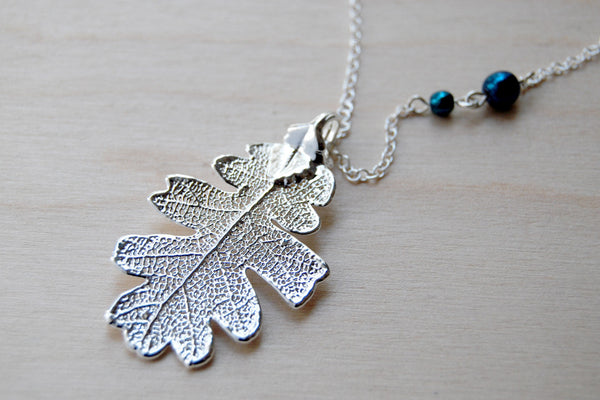 Medium Silver Oak Leaf Necklace | Electroformed Leaf Pendant | Real Oak Leaf Nature Jewelry - Enchanted Leaves - Nature Jewelry - Unique Handmade Gifts