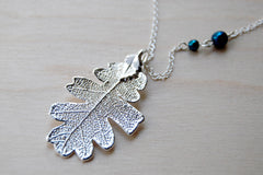 Medium Fallen Silver Oak Leaf Necklace