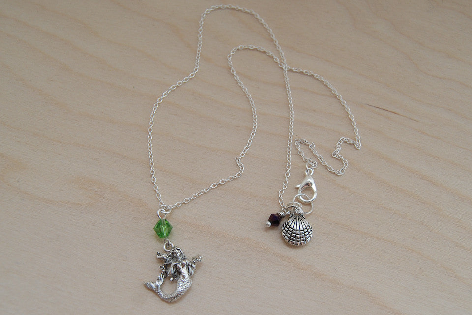 Mermaid Necklace | Silver Mermaid Charm Necklace | Fantasy Jewelry - Enchanted Leaves - Nature Jewelry - Unique Handmade Gifts