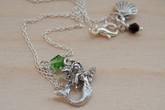 Mermaid Necklace | Silver Mermaid Charm Necklace | Fantasy Jewelry