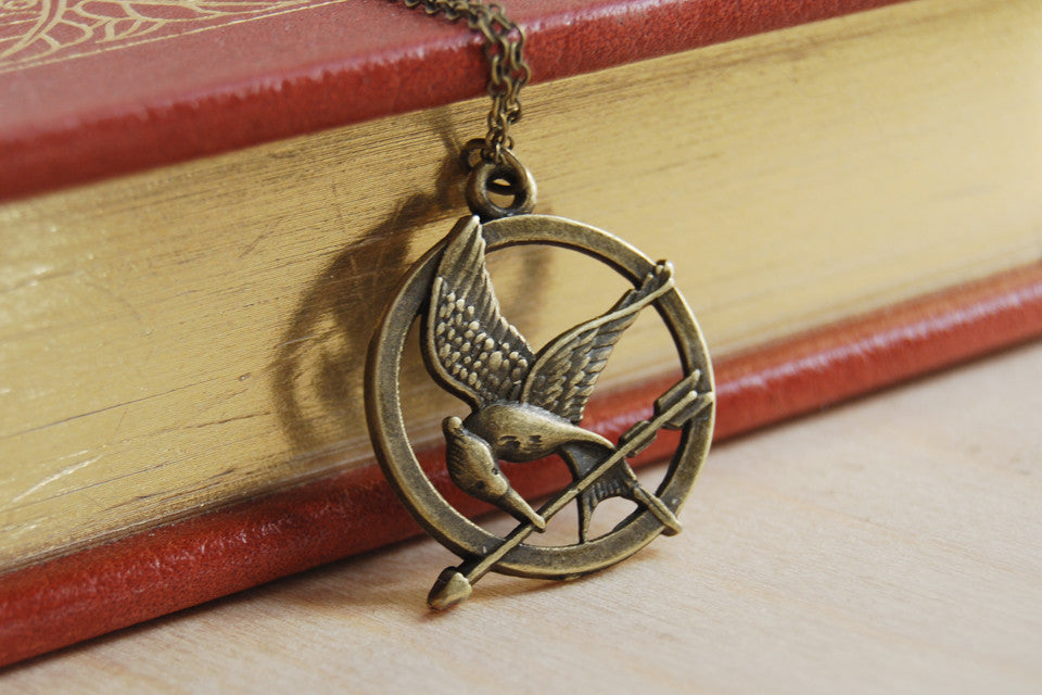 Mockingjay Necklace | Hunger Games Jewelry | Mockingjay Charm Necklace - Enchanted Leaves - Nature Jewelry - Unique Handmade Gifts