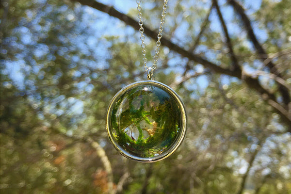 Moss World | Glass Moss Forest Necklace | Woodland Green Moss Charm Necklace - Enchanted Leaves - Nature Jewelry - Unique Handmade Gifts