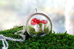 Mushroom Forest Terrarium Necklace | PRE-ORDER ONLY | Woodland Toadstool Jewelry