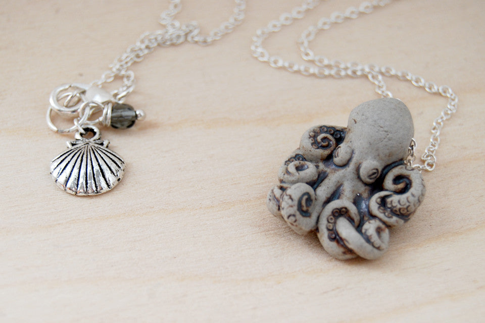 Grey octopus necklace handmade ceramic octopus pendant nautical grey octopus necklace handmade ceramic octopus pendant nautical jewelry enchanted leaves nature mozeypictures Choice Image