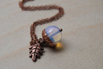 Opal and Copper Acorn Necklace | Cute Nature Acorn Charm Necklace | Fall Acorn Necklace | Woodland Gemstone Acorn | Nature Jewelry - Enchanted Leaves - Nature Jewelry - Unique Handmade Gifts