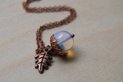 Opal and Copper Acorn Necklace | Cute Nature Acorn Charm Necklace | Fall Acorn Necklace | Woodland Gemstone Acorn | Nature Jewelry