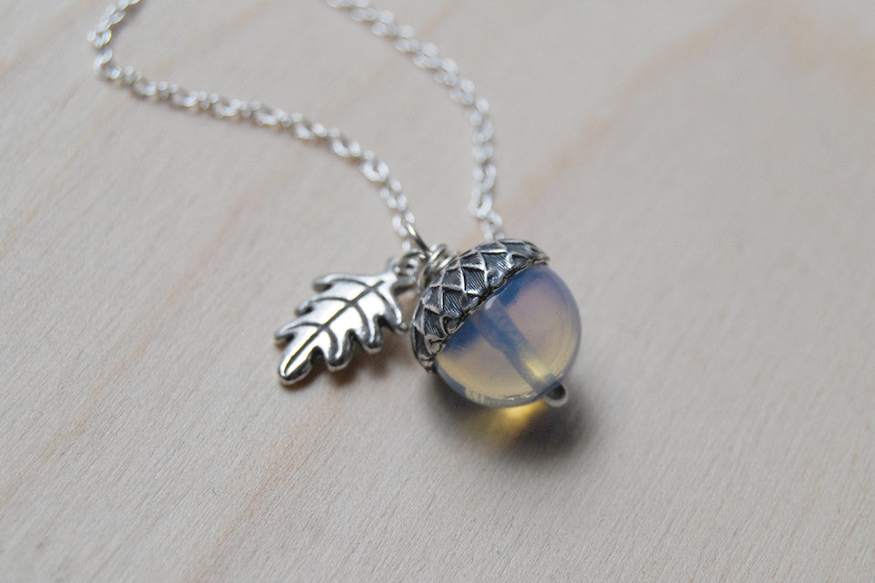 Opal and Silver Acorn Necklace | Cute Nature Acorn Charm Necklace | Fall Acorn Necklace | Woodland Gemstone Acorn | Nature Jewelry - Enchanted Leaves - Nature Jewelry - Unique Handmade Gifts