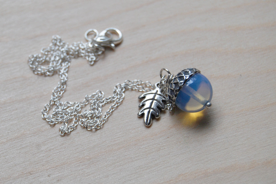 Opal & Silver Acorn Necklace | Nature Jewelry | Opalite Gemstone Acorn | Fall Acorn Charm Necklace - Enchanted Leaves - Nature Jewelry - Unique Handmade Gifts