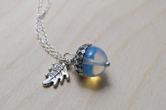 Opal and Silver Acorn Necklace