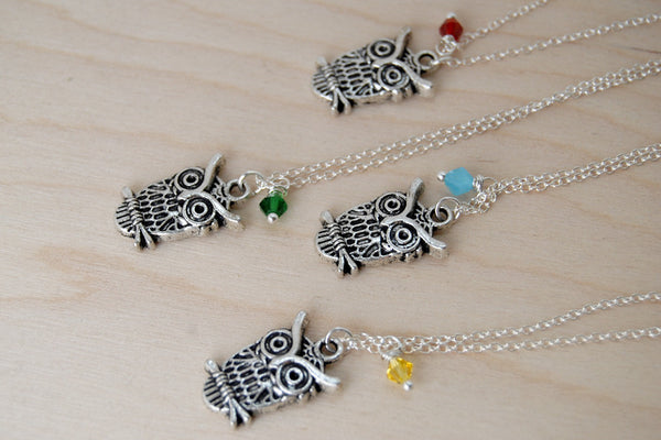 Owl BFF Necklace (Sold Singly) | Silver Owl Charm Necklace | Best Friend Jewelry - Enchanted Leaves - Nature Jewelry - Unique Handmade Gifts