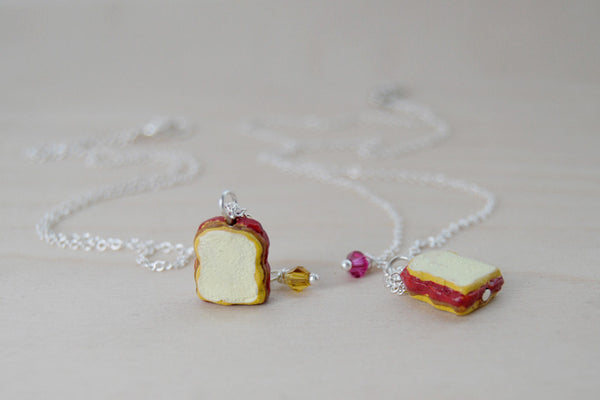 Peanut Butter and Jelly BFF Necklaces -TWO Necklaces- - Enchanted Leaves - Nature Jewelry - Unique Handmade Gifts