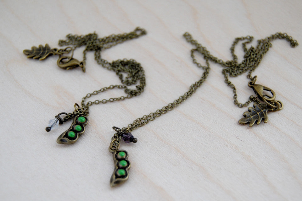 Peapod BFF Necklace (Sold Singly) | Brass Peapod Charm Necklace | Best Friend Necklace - Enchanted Leaves - Nature Jewelry - Unique Handmade Gifts