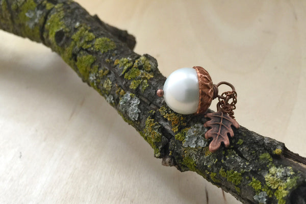 Snow and Copper Pearl Acorn Necklace | Cute Nature Acorn Charm Necklace | Fall Acorn Necklace | Woodland Acorn | Nature Jewelry - Enchanted Leaves - Nature Jewelry - Unique Handmade Gifts