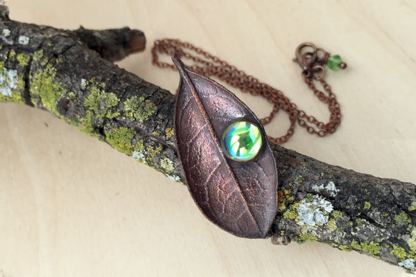 Peridot and Copper Guava Leaf Necklace | Electroformed Leaf Jewelry | Forest Necklace - Enchanted Leaves - Nature Jewelry - Unique Handmade Gifts