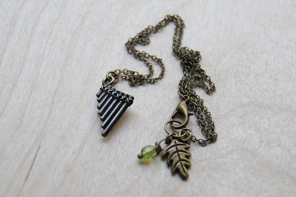 Peter Pan Flute Pipes Necklace | Cute Peter Pan Charm Necklace | Pan Pipes Pendant Necklace - Enchanted Leaves - Nature Jewelry - Unique Handmade Gifts