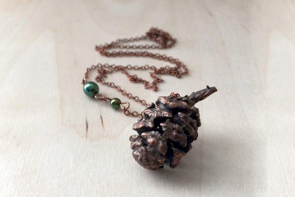 Copper Sequoia Pine Cone Necklace | Pinecone Jewelry | Electroformed Nature | Woodland Pine Cone - Enchanted Leaves - Nature Jewelry - Unique Handmade Gifts