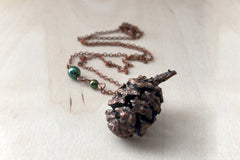 Copper Sequoia Pine Cone Necklace | Pinecone Jewelry | Electroformed Nature | Woodland Pine Cone Necklace