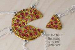 Pizza by the Slice | BFF Necklace | Best Friend Charm Necklace | Pizza Necklace (Sold Singly)
