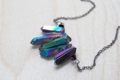 Rainbow Aura Crystal Point Bib Necklace / Titanium Crystal Necklace