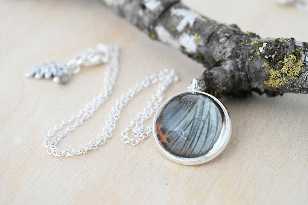 Real Butterfly Wing Necklace | Glass Butterfly Pendant Necklace - Enchanted Leaves - Nature Jewelry - Unique Handmade Gifts