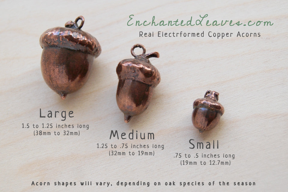 Large Fallen Copper Acorn Necklace | Acorn Charm Jewelry | Woodland Nature Electroformed Acorn - Enchanted Leaves - Nature Jewelry - Unique Handmade Gifts