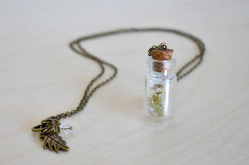 Star Daisy Flower Bottle Terrarium | Glass Garden Bottle Necklace | Nature Flower Jewelry - Enchanted Leaves - Nature Jewelry - Unique Handmade Gifts