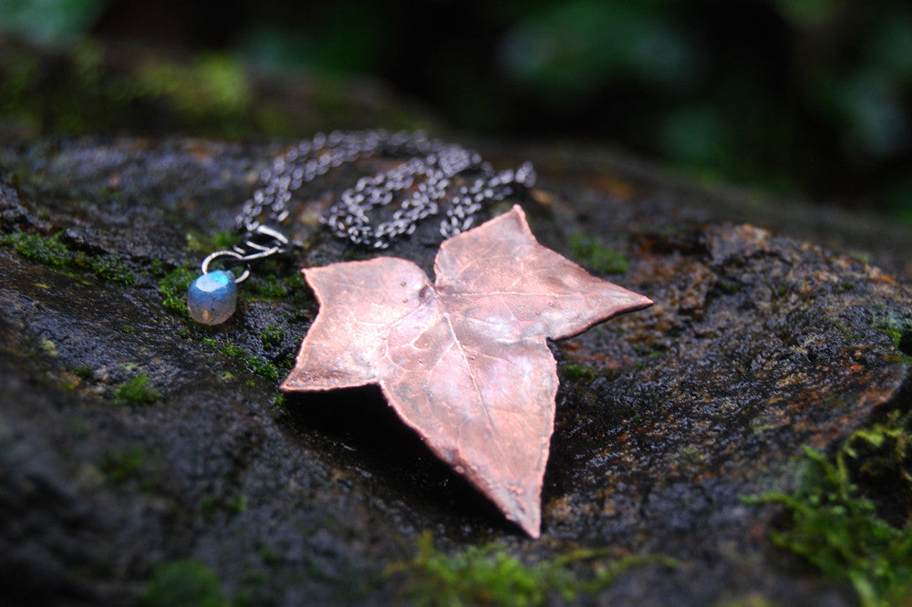 Copper ivy leaf necklace electroformed real ivy leaf pendant copper ivy leaf necklace electroformed real ivy leaf pendant woodland nature jewelry pre order only mozeypictures Image collections