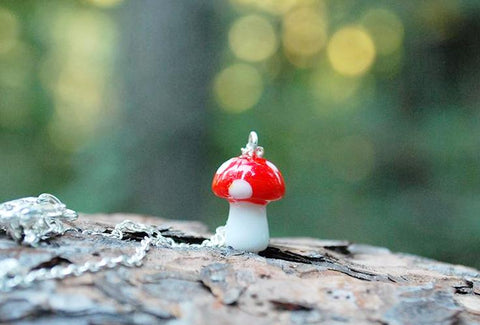 Woodland Forest Mushroom Necklace | Cute Red Glass Toadstool Charm Necklace | Glass Mushroom Jewelry