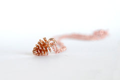 Rose Gold Pine Cone Necklace | Nature Jewelry | Fall Pinecone Charm Necklace