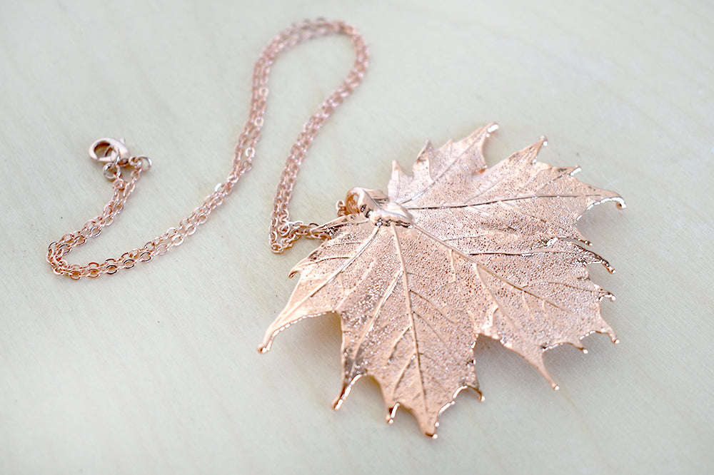 Rose gold copper large maple leaf necklace real maple leaf rose gold copper large maple leaf necklace real maple leaf pendant with gemstones aloadofball Gallery
