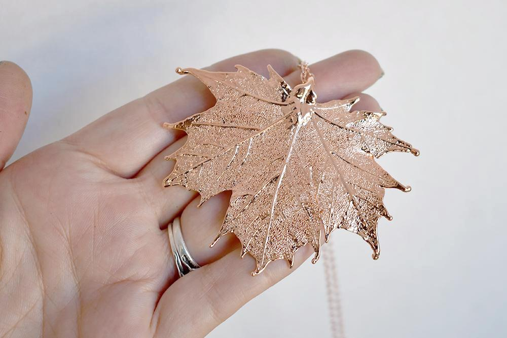 Rose Gold & Copper Large Maple Leaf Necklace | Copper Electroformed Nature - Enchanted Leaves - Nature Jewelry - Unique Handmade Gifts